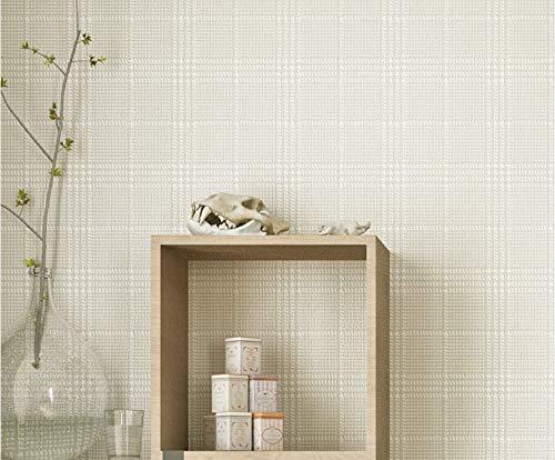 JXArt Tapeten Rolle, Modernes Minimalistisches 3D Optik Vlies-Tapete Design für Wohnzimmer Schlafzimmer Kinderzimmer, 0.53x10m, Perliges gestreiftes Karo, nude pink -