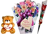 #9: anniversary gift for husband - Greeting Card, Soft Teddy,Artificial Flower