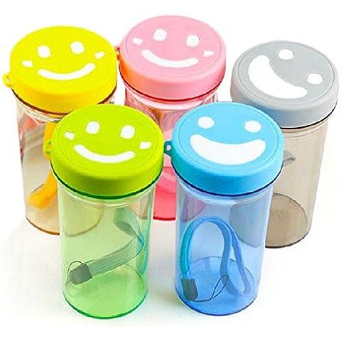 rybyte (TM) nueva creativo cara sonriente Mood botella de agua portátil cuerda sello taza Fashion Candy Color fácilmente # EE