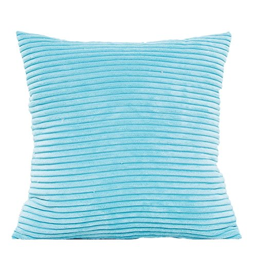 Outflower solide Couleur Maïs à rayures en peluche Taie d'oreiller de voiture Taie d'oreiller Canapé Housse de coussin, bleu ciel, 45 x 45 cm