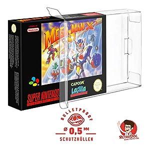 10 Klarsicht Schutzhüllen SUPER NINTENDO SNES OVP – 0,5MM – ARMOURED – SNES BOX OVP – Spiele Originalverpackung…