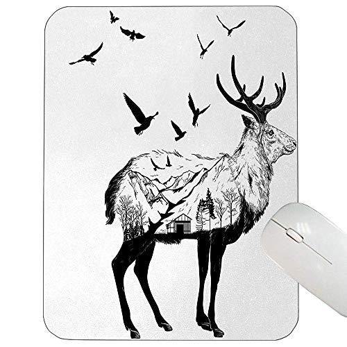Animal Support Mauspad Berg- und Hütten-Szene Handgezeichnete Vögel Land Wildlife Themed Print Gaming Mauspad Schwarz Weiß in,Gummimatte 11,8