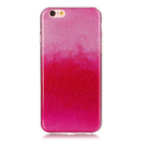 iPhone 6S Plus Hülle Weiches Silikon Glitzer Schutzhülle Tasche Case,iPhone 6 Plus Hochwertig Leicht Gummi Schutz Hoch Handyhüllen Schale Etui,Herzzer Modisch Luxus Silikon Bunt Hülle [Farbverlauf Gra Heiß Rosa