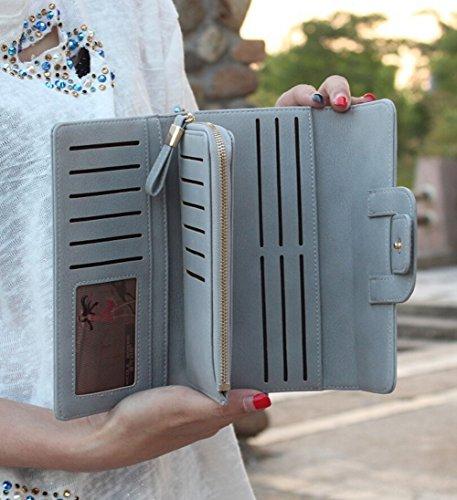 Grande Capacità di Portafoglio Donna Elegante Frizione Trifold Porta Monete Multi-Card Fessura grigio