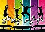 10 coole JUMP-PARTY-Einladungen/Einladungskarten zum Trampolin-Kindergeburtstag für Mädchen und...