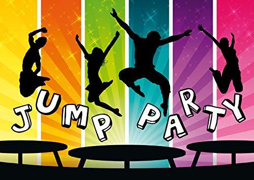 10 coole JUMP-PARTY-Einladungen/Einladungskarten zum Trampolin-Kindergeburtstag für Mädchen und Jungen von EDITION COLIBRI (11017)
