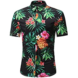 Cebbay Camisa de Manga Corta Hombre Blusa Estampada Camiseta Casuales de Estampada Flore de Tallas Grandes Verano Camiseta de Manga Corta de algodón Tees Tops Blusa Deportivas(Negro, XX-Large)