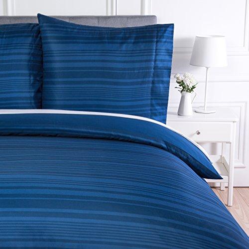 AmazonBasics - Bettwäsche-Set, Mikrofaser, 135 x 200 cm, Königsblau, gestreift