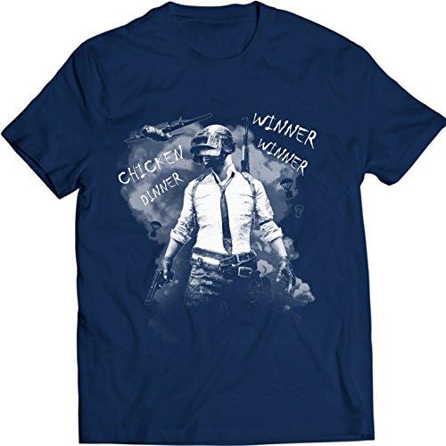 Winner Winner Chicken Dinner Shirt, PUBG tee, Playerunknown's Battlegrounds T-Shirt (S, Bleu Marin)