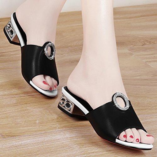 PENGFEI sandali delle donne Sandali diamanti Rough con pantofole da spiaggia estate Femmina mezza tacco Sandali antiscivolo in bianco e nero Confortevole e traspirante ( Colore : Nero , dimensioni : E Nero