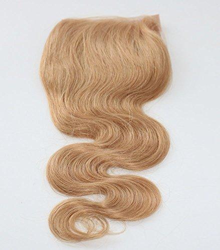 100% cheveux naturels vierges Wave Texture Fermeture Dentelle Suisse sur le dessus 10,2 x 10,2 cm supplémentaire gratuit avec blanchis Couleur blond Corps ondulés