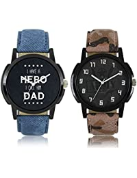 BORICHA® Latest Stylish And Fancy Black Dial Leather Analogue Watch For Men And Boys ( Combo Of 2 Watches )
