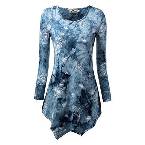 Lange Ärmel Plus Größe T-shirt (Plus Größe Blusen Damen Shirts Kleid Gothic Lange T-shirts Rundhals Langen Ärmeln Tops Gedruckt Bluse Herbst Winter Casual Arbeit S-5XL Mxssi)
