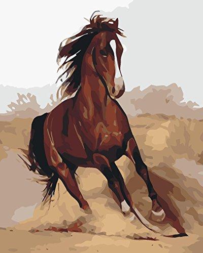 DIY Vorgedruckt Leinwand-Ölgemälde Geschenk für Erwachsene Kinder Malen Nach Zahlen Kits Home Haus Dekor - Braunes Pferd läuft 40*50 cm