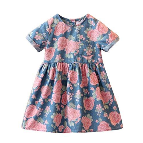 Vovotrade Bella bambino capretti neonate vestiti corti Fiore manica stampa denim principessa Dresses (4/5età /110)