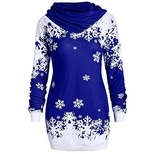 Damen Lang Weihnachtspullover Langarmshirt Santa Claus und Schnee Druck Rollkragenpullover...