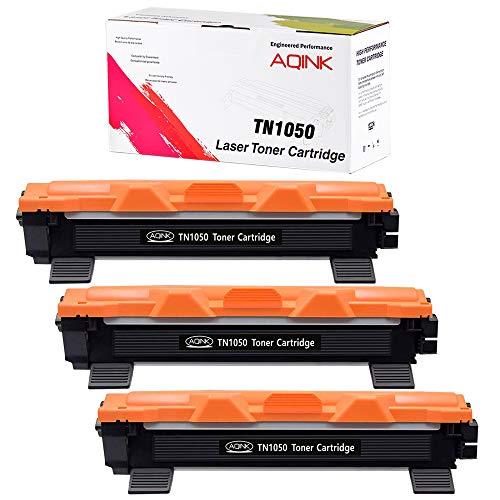 AQINK TN1050 TN-1050 - Cartuccia toner di ricambio per stampanti Brother HL-1110 DCP-1510 HL-1210W DCP-1610W HL-1112 MFC-1810 HL-1212W MFC-1910W DCP-1612W DCP-1512, confezione da 3 pezzi, colore: nero
