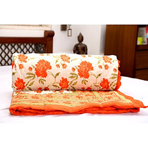 GRJ INDIA Jaipuri Light Weight Pure Cotton Double Bed Quilt Rajai