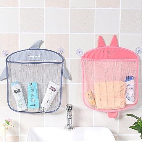 2PCs Bath Mesh Net Storage Bag Organizer Holder for Toy Skin Care Products Bath Ball Shampoo ,2 Suction Cup Cartoon Animal Mesh Basket for Bathroom Kitchen - Hanging Mesh Hammock