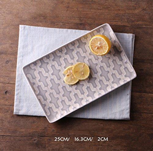 Sushi-Teller Kreative Persönlichkeit Handbemalte Geschnitzte Pad Rechteckigen Keramik Teller Meeresfrüchte Sashimi Küche Teller Teller,D,9 Zoll