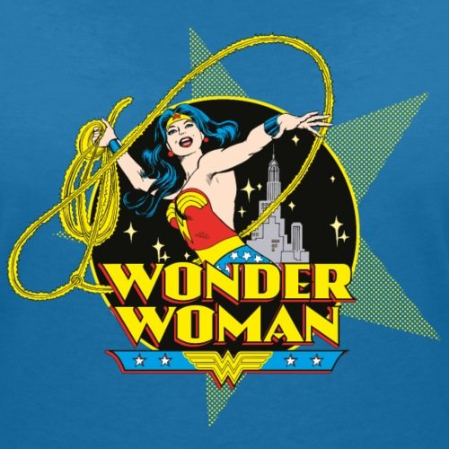 DC Comics Originals Wonder Woman Lasso Rétro T-shirt col V Femme de Spreadshirt®‎ bleu paon