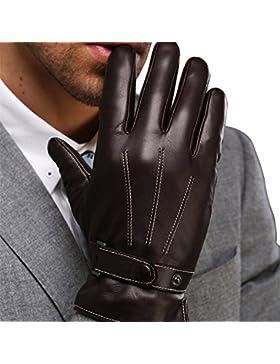 Harrms guantes de hombre para invierno de mejor genuino Nappa mejor cuero forro cachemira mecanografiar/conducir...