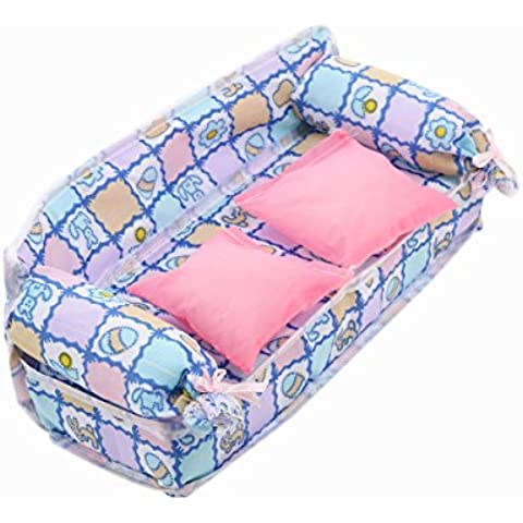 PIXNOR Fiore stampa divano letto con 2 cuscini per Barbie bambole in miniatura Dollhouse mobili