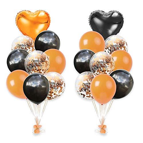 rebirthesame Halloween Dekoration, 18PCS 12 Zoll Halloween Konfetti Ballon Set Orange Schwarz 18 Zoll Aluminiumfolie herzförmigen Ballon