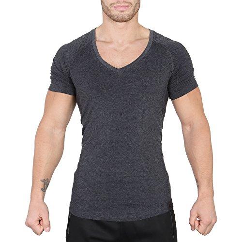 SMILODOX T-Shirt Herren mit V-Ausschnitt | Basic V-Neck für Sport Fitness Gym & Freizeit | Regular T-Shirt Kurzarm - Schlichtes Design - Leichtes Casual Shirt, Farbe:Anthrazit, Größe:M (T-shirts Herren Kurze)