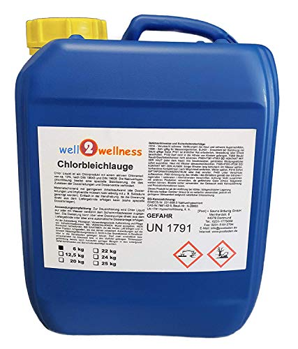 well2wellness Chlorbleichlauge stabilisiert/Chlor flüssig Natriumhypochlorit 6,0 kg