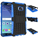 Galaxy S6 Edge Plus Hülle Silikon,Samsung Galaxy S6 Edge Plus Hülle Schwarz,Samsung Galaxy S6 Edge Plus Hülle Tasche Wallet Case Flip Cover Etui,Samsung Galaxy S6 Edge Plus Case ,EMAXELERS Galaxy S6 Edge Plus Hülle Blau,Galaxy S6 Edge Plus Kick-Ständer Hülle [Heavy Duty] Tire Muster Rugged Armor stoßfest Handy Schutzhülle Silikon Tasche Ständer Hülle Case mit Standfunktion für Samsung Galaxy S6 Edge Plus ,Blue Tire Pattern