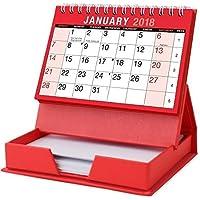 2018 Mes para ver espiral calendario de escritorio con Bloc de notas