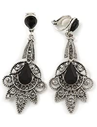 Vintage Inspired Filigree Crystal Clip On Chandelier Earrings In Aged Silver Tone - 63mm L