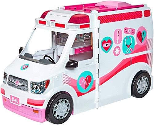 Barbie Ambulanza, Trasformabile in Clinica Mobile con 3 Stanze e Tanti Accessori, Bambola...