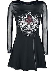 Spiral Robe portefeuille évasée avec résille pour femme Motif In Goth We Trust Noir