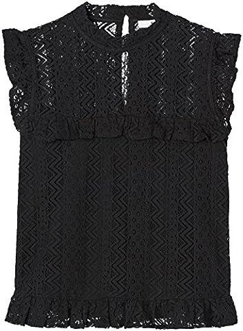 FIND Frill Hem Lace, Top Femme, Noir (Black), 12 (Taille