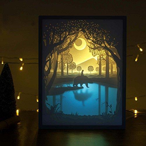Papierschnitt Licht-Box Beleuchtung Lampe 6 LED Perlen Romantische Lamp entspannende Stimmung Lichtprojektor-Baby-Kinderzimmer-Schlafzimmer Kinder Zimmer und Weihnachts-Geschenk (Mein Freund) (Boxen Weihnachtsgeschenke Für)