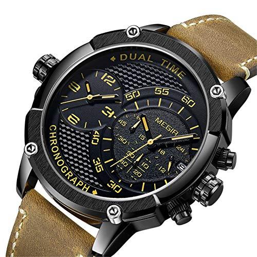 HCWH Watch Chronographe Sport Montre À Quartz Hommes Double Fuseau Horloge Hommes Montres Creative Cuir Armée Militaire Montres Horloge Heure, Noir