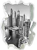 Monocrome, Dubai Metropole Papier im 3D-Look, Wand- oder Türaufkleber Format: 62x45cm, Wandsticker, Wandtattoo, Wanddekoration