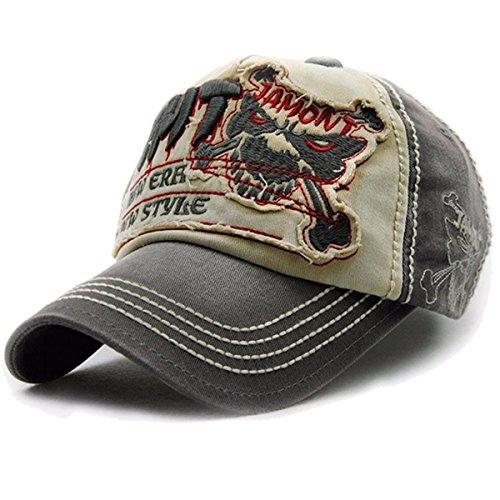 Vintage Cap (Baseballcap Fight Skull Distressed Snapback Vintage used Look Golf Sport Outdoor Kappe Mütze Cap Schirmmütze Basecap verstellbar (grau))