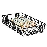 mDesign Portautensili cucina in metallo – Cestini portaoggetti multiuso ideali per la dispensa o come portaoggetti cucina – Utilizzabile come scatola per l'armadio – nero opaco