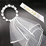 BigLion Sposa di Essere Kit, Nuziale Kit Velo Sposa Matrimonio Essere Fascia Bride to be Satin Sash Fascia Raso Addio Nubilato Matrimonio Sashes Hen Feste Nozze Nubilato Bachelorette Party Accessori