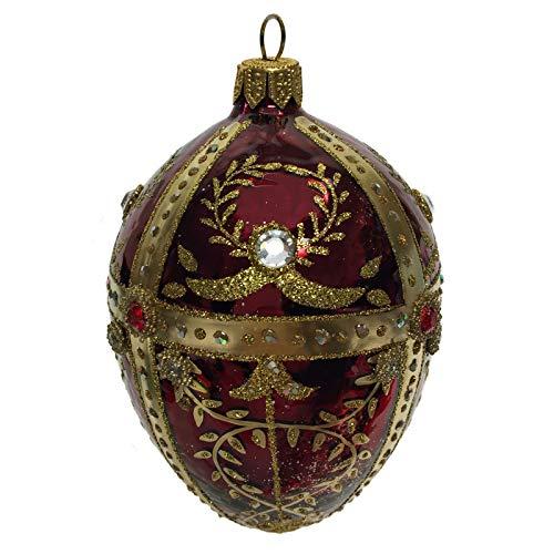 Pinnacle Peak Trading Company Burgundy and Gold Jeweled Faberge Inspired Egg Polish Glass Christmas Ornament -
