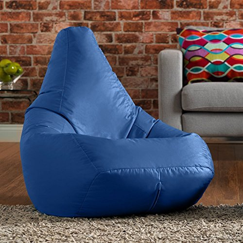 Hi-BagZ®, Sitzsack mit hoher Rückenlehne, für den Garten, Blau, 100% wasserabweisend