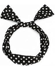 UTOVME Femmes Filles Bandeau Cheveux à Pois Hair Hoop Headband Style Rétro Noir avec Pois Blanc