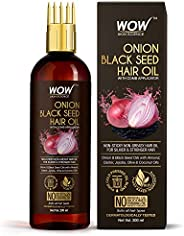 WOW Skin Science Onion Oil - Black Seed Onion Hair Oil - WITH COMB APPLICATOR - Controls Hair Fall - NO Minera