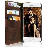 Handytasche Ledertasche Apple iPhone 6S / 6  Handyhülle Wallet Case  Klapptasche mit Kartenfach, Geldfach, induktives Laden  Kupfer Braun vintage