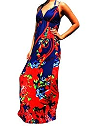 Robe Longue Femme Angela Rope - Noir & Rouge, 40-42