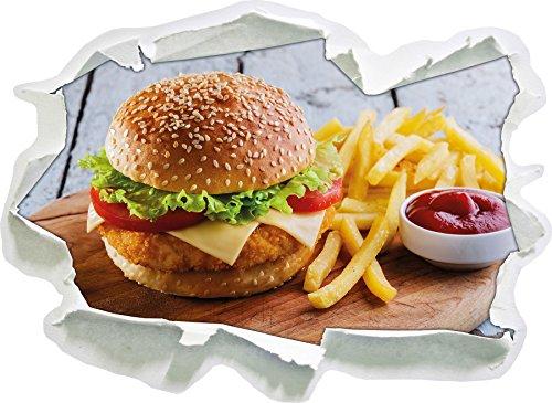 Chickenburger mit Pommes, Papier 3D-Wandsticker Format: 62x45 cm Wanddekoration 3D-Wandaufkleber Wandtattoo