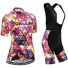 (Cojín 3D)(traje tamaño:L) ciclismo para los corta rendimiento chaleco sudo Moda maillot transpirable manga ropa Jerseys rompevientos de mujer